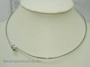 Edelstahlcollier, Halsreif mit Kugelverschluss, 42cm, Silber #OM3