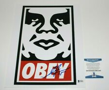 SHEPARD FAIREY ARTIST SIGNED CLASSIC LOGO 11X14 PHOTO PRINT BECKETT COA OBEY
