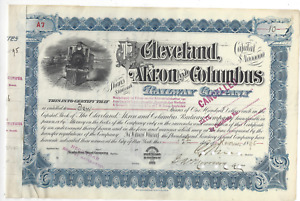 Stk The Cleveland, Akron & Columbus RY Ohio 1895 #A7 Issued to Netherlands Co.
