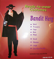 Adult Zorro Costume Bandit Hero Outfit Mens Fancy Dress Halloween Party D2007C
