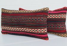 """CONTEMPORARY TURKISH PILLOW RECTANGLE WOOL HAND WOVEN KILIM AREA RUGS 24""""X12"""""""
