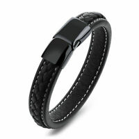 Men's Leather Bangle Cuff Bracelet Stainless Steel Magnetic Clasp+Gift Bag