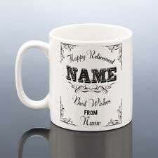 HAPPY RETIREMENT MUG PERSONALISED CUP Pension Best Wishes Gift Present Retired