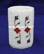 4'' Desk Accessories Marble Pen Stand Floral Lattice Marquetry Inlaid Decor M215