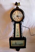 Sessions Mahogany Banjo Electric Wall Clock Nautical Sailing Ships Needs Repair