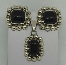 Black Onyx Clip Earrings & Pendant !Wow! Vintage Mexican Taxco Sterling Silver &