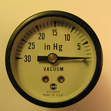 "LIVE STEAM AMETEK/USG 0 TO 30"" Hg /VACUUM GAUGE 1-1/2"" DIAL~ Back Tap - NEW"