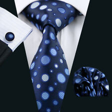 USA Classic Blue Polka Dot Tie Silk Men Tie Necktie Hanky Cufflinks Set Wedding