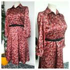 Vintage 80s Pink & Blue Abstact Sateen Shirt Midi Dress Size 14