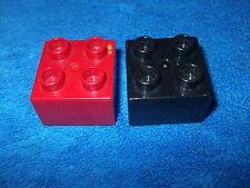 LEGO DUPLO RITTERBURG 2 X 4er NOPPEN STEIN 4777 + 4988 + 4785 SCHWARZ ROT