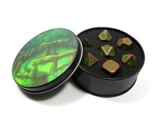 Metal Dice Polyhedral Set of 7 Chaotic Copper D&D RPG Ancient Copper with Green