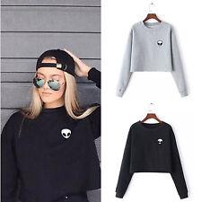 Damen Alien Bauchfreie Bluse Sweatshirt Freizeit Oberteil Jumper Pullover Hoodie