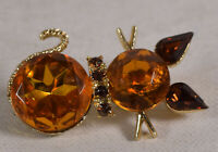 Dodds Cat Pin Brooch Amber Rhinestones Vintage