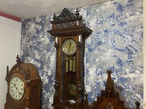 Magnificent Gustav Becker Grand Sonnerie Vienna Wall Clock Embossed Weights Etc