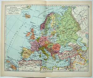 Original 1928 Political Map of Europe by Meyers. Vintage German Language Map