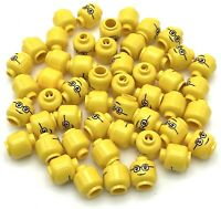 *NEW* Lego Smirk Stern Face Smile Yellow Heads for Minifigs Figs 2 pieces