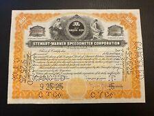 1925 STEWART-WARNER SPEEDOMETER CORP. Stock Certificate RARE Vignette, Model-T