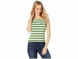 New $99 Juicy Couture Women's Green Awning Stripe Ribe Tank Top Size Small