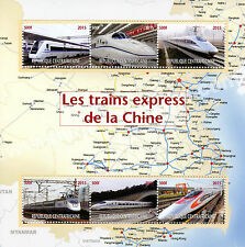 Central African Rep 2015 MNH High Speed Express Trains of China 6v M/S Stamps