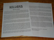 KILLERS - BATTLE BORN / 2 PROMO-FACTS-BLÄTTER (DIN-A-4) 2012
