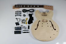 Unfinished 335 Electric Guitar kits Semi Hollow Body Flamed Maple Top Veneer