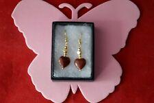 Beautiful Gold Plated Earrings With Heart Sunstone 3.3 Gr. 2.5 Cm. Long +Hooks