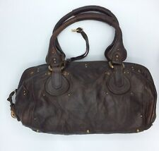 'Chloe' Paddington Classic Brown Leather Handbag Brass Studs & Padlock & Key