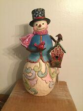 JIM SHORE/Heartwood Creek SNOWMAN with BIRDHOUSE Figurine