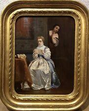 Tableau Peinture Cadre 19è XIXè R. de l'Espéronnière Scène de genre rare ancien