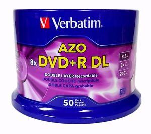 VERBATIM DVD+R DL AZO 8.5GB 8X Logo 50pk Spindle 97000 + 50 CD Paper Sleeves