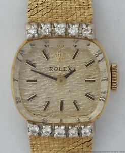Rolex Factory Diamond Mid Century Textured Dial Ladies Signed 4x Gold Watch