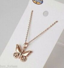 Fossil Rose Gold Glitz Crystal Butterfly Necklace #176