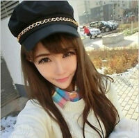 Women Ladies Girl Fashion Black Party Military Army Chain Cadet Hat Cap