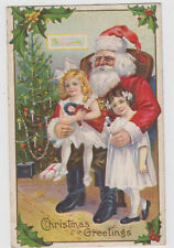 Santa Sitting With Girls Christmas Postcard Embossed