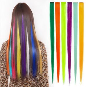 2x Rainbow Clip In Highlight Streaks Festival Long like Human Hair Extension UK