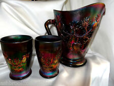 Fenton Art Glass Black Carnival Pineapple 3pc Water Set Pitcher Tumblers USA
