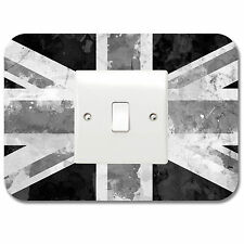 GB Union Jack Distressed Style Black & White Light Switch Vinyl Sticker Surround
