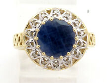 Diamond Right Hand Ring 2.53ct 10k Yellow Gold Round Sapphire and