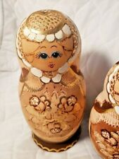 "Vintage Hand Made Wooden Russian Nesting Doll set of 7 dolls. 8"" to 1 1/2"""