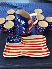 Ceramic Patriotic Pither and Eight Glasses and Chip and Dip Tray Stars & Stripes