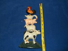 Cast Iron vintage door stop cow lamb pig goose roster .11 inch tall
