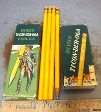 VINTAGE Dixon Ticonderoga Pencil case 1386 #2 pencils, 3 still unsharpened, nice