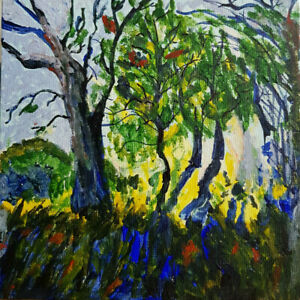 """Original Painting in Acrylics, Trees/Forest/Landscape/Impressionist/Small 6""""x6"""""""