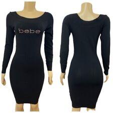 bebe Long Sleeve Boatneck Swarovski Logo Sweater Dress Medium Black