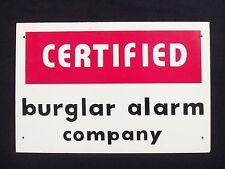 Vintage Burglar Alarm Sign Theft Warning Business Home Certified Security SIGN