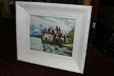 Superb Oil Painting On Wood Board-Castle On The Water-Antique Frame-Detailed