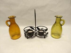 "Yankee Candle Tea Light Holder Oil Vinegar Cruet Set 7.25""x 6.75""  Vineyard Wine"