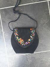 J Renee Black Round Suede Bag Christmas Embroidery