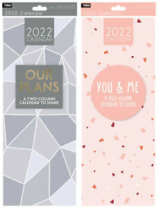 2022 Couples 2 Column Month To View Slim His & Her Calendar Wall Hanging Planner