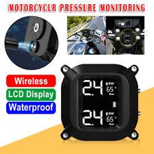 Waterproof Motorcycle TPMS Tire Pressure Monitor Systems Wireless+2 Sensors